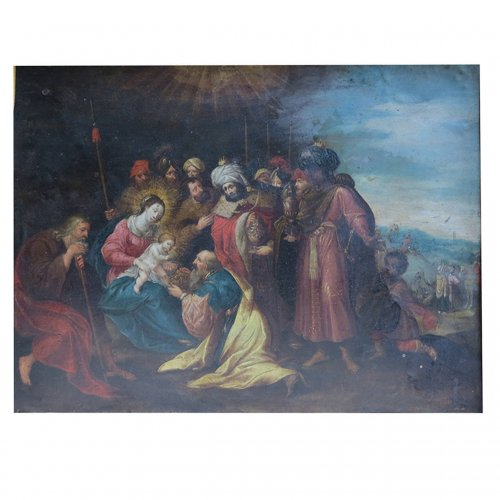 """Nativity"" oil on copper, attributed to Frans Francken le jeune"