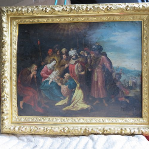 """Nativity"" oil on copper, attributed to Frans Francken le jeune -"