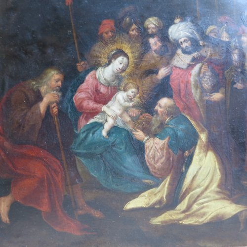 "17th century - ""Nativity"" oil on copper, attributed to Frans Francken le jeune"