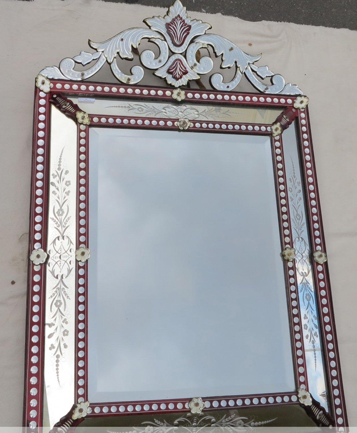 Miroir venitien fronton couleur rouge boh me xixe for Miroir boheme