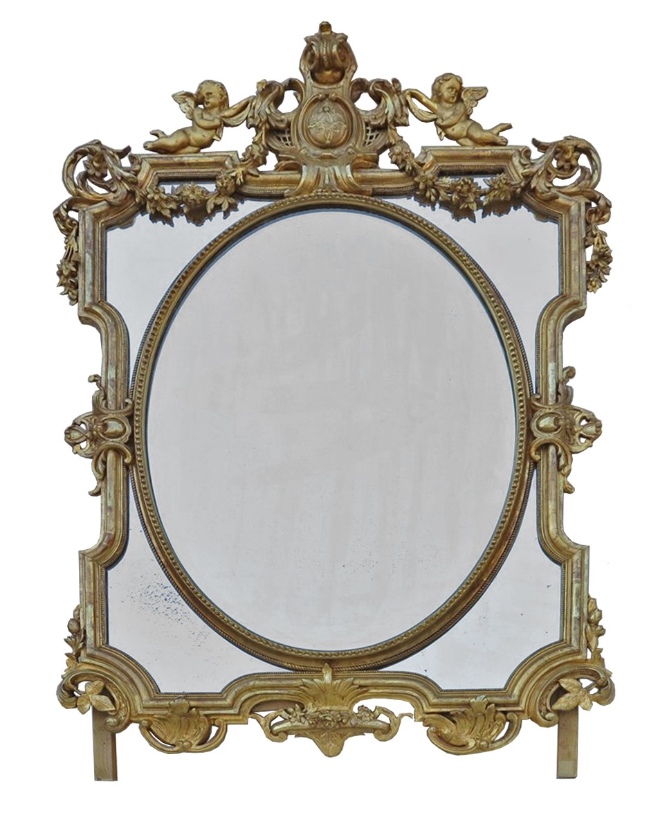 Miroir napol on iii parecloses et m daillon central for Miroir napoleon