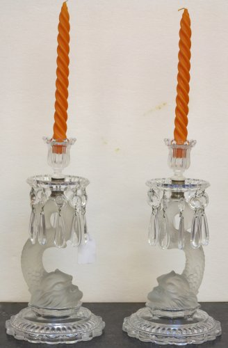 Pair of mid 20th century Baccarat candlesticks - Lighting Style 50