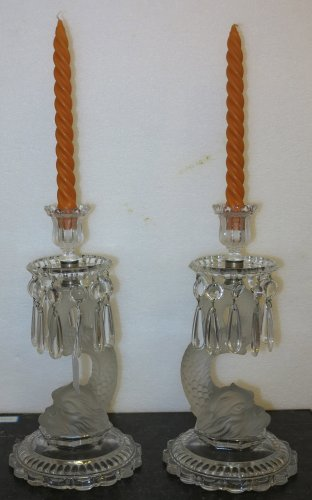Antiquités - Pair of mid 20th century Baccarat candlesticks