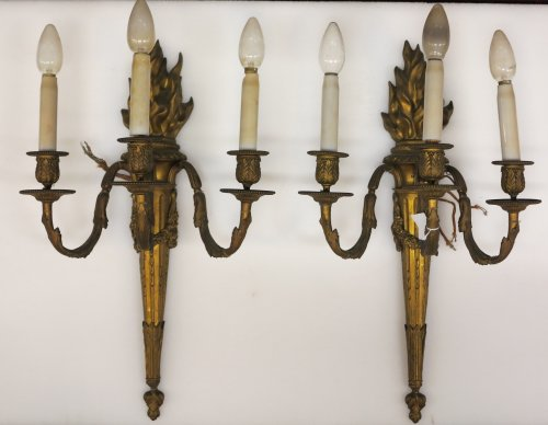 Pair of late 19th century Bronze wall lights