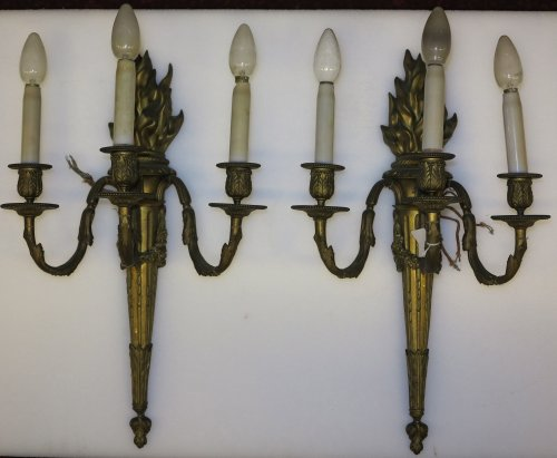 Pair of late 19th century Bronze wall lights - Lighting Style Napoléon III