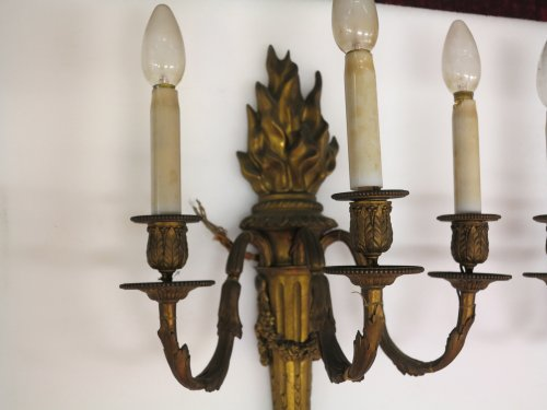 Pair of late 19th century Bronze wall lights -