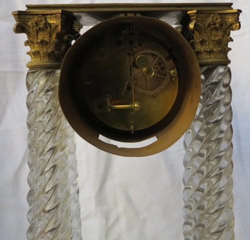 Clock Portico Charles X Baccarat crystal and gilt bronze - Horology Style Restauration - Charles X