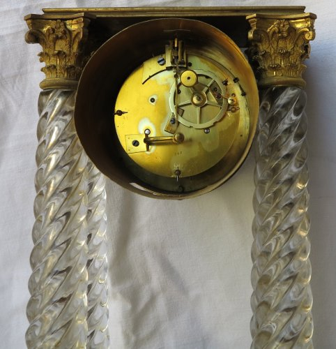 Horology  - Clock Portico Charles X Baccarat crystal and gilt bronze