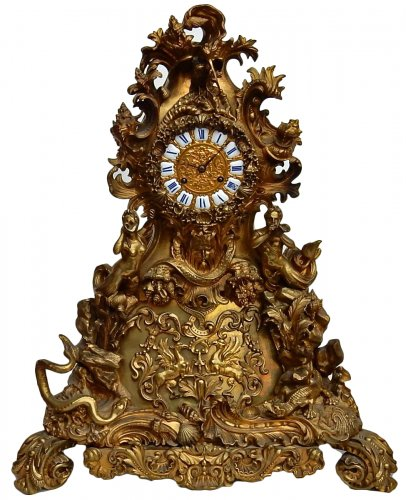 "Bronze Clock  by Denier in Paris ""Aquatic World"""