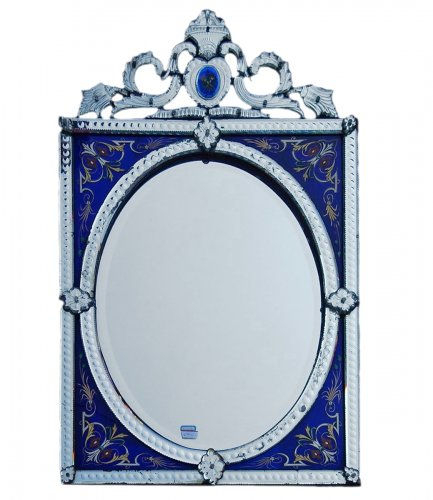 Venitian Mirror  With Pediment- Blue Glass  Adorned with Flowers