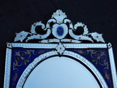 Mirrors, Trumeau  - Venitian Mirror  With Pediment- Blue Glass  Adorned with Flowers