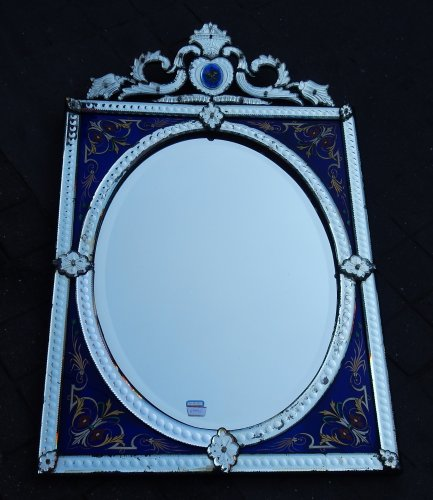 Venitian Mirror  With Pediment- Blue Glass  Adorned with Flowers -