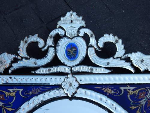 Antiquités - Venitian Mirror  With Pediment- Blue Glass  Adorned with Flowers