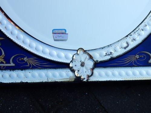 Antiquités - Venitian Mirror  With Pediment- Blue Glass  Adorned with Flowers