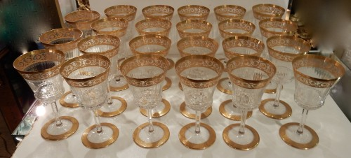 1950'  Crystal Service From St Louis Thistle 102 pieces - Glass & Crystal Style 50