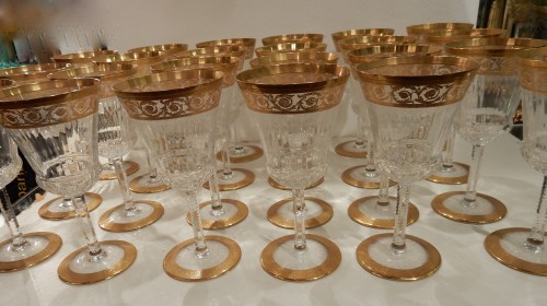 Glass & Crystal  - 1950'  Crystal Service From St Louis Thistle 102 pieces