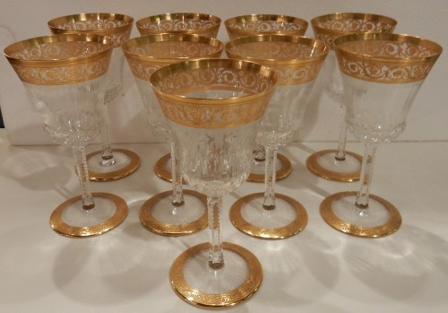 Antiquités - 1950'  Crystal Service From St Louis Thistle 102 pieces
