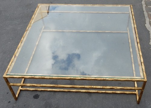 1970' Cofee Table Forged Iron Gilted Sheet Of Gold 130 X 130 cm - Furniture Style 50