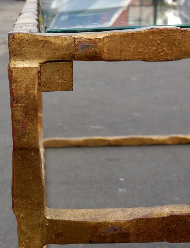 Furniture  - 1970' Cofee Table Forged Iron Gilted Sheet Of Gold 130 X 130 cm
