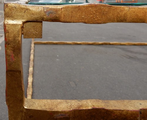 Antiquités - 1970' Cofee Table Forged Iron Gilted Sheet Of Gold 130 X 130 cm