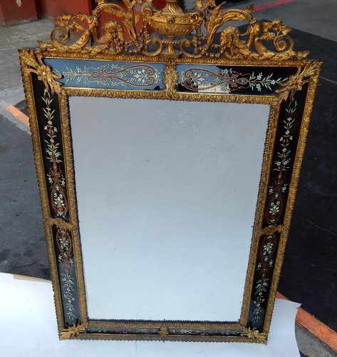 Mirrors, Trumeau  - 1880/1900 Venitian And Gilted Bronze Mirror With Pediment Black Color Glass