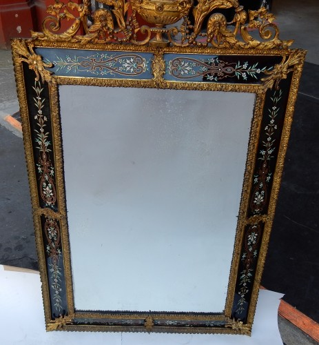 1880/1900 Venitian And Gilted Bronze Mirror With Pediment Black Color Glass -