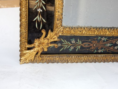 1880/1900 Venitian And Gilted Bronze Mirror With Pediment Black Color Glass - Napoléon III