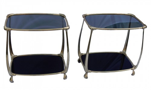 1970 Pair of Gilt Bronze Tables In The Style Of Art Nouveau