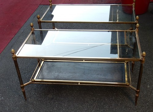 1950/70 Maison Jansen - Pair of Cofee Table Levels Glass - Furniture Style 50
