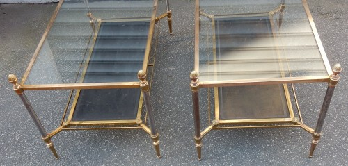 1950/70 Maison Jansen - Pair of Cofee Table Levels Glass -