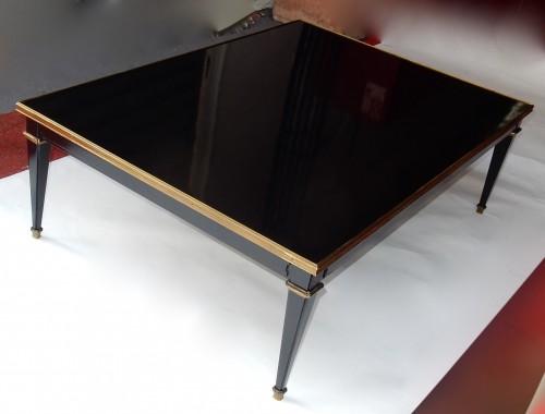 Antiquités - 1950/70 Coffee Table Wood Lacquered Black Maison Jansen