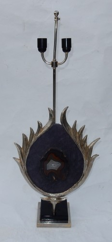 Antiquités - 1970 'Lamp decorated with a decor of Lotus