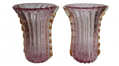 Pair of Murano vases or similar signed Toso