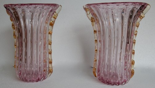 Pair of Murano vases or similar signed Toso - Glass & Crystal Style