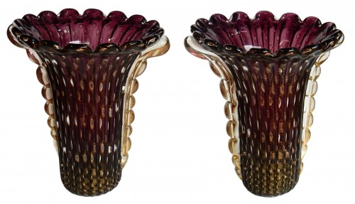 Pair of Murano Vases Signed Toso