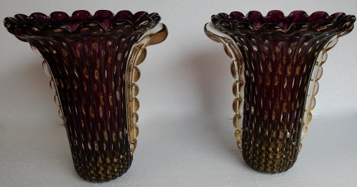 Glass & Crystal  - Pair of Murano Vases Signed Toso