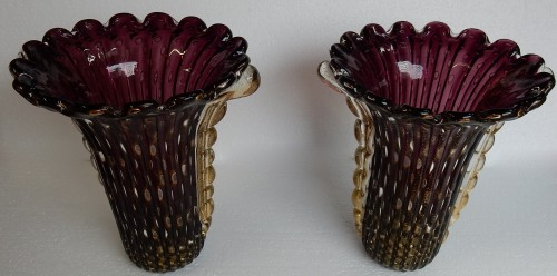 Pair of Murano Vases Signed Toso -