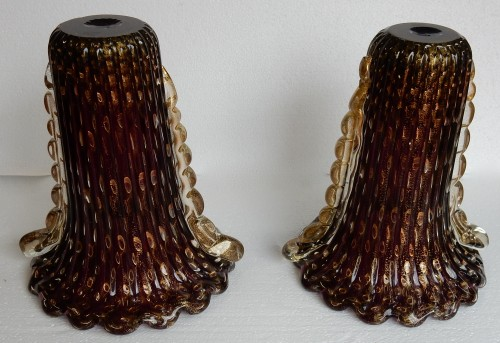 20th century - Pair of Murano Vases Signed Toso