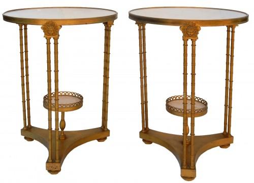 Pair of gilt bronze pedestal tables signed Jansen