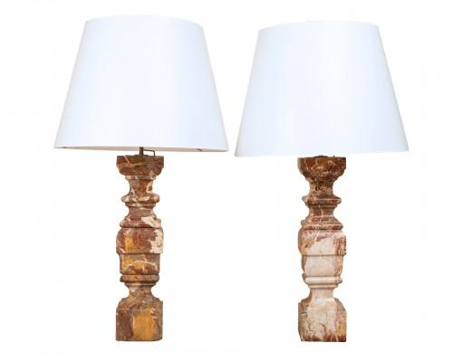 Paire de lampes balustre en marbre Italie début du 18ème siècle