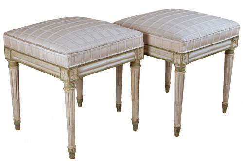 A pair of Louis XVI  painted wood stools