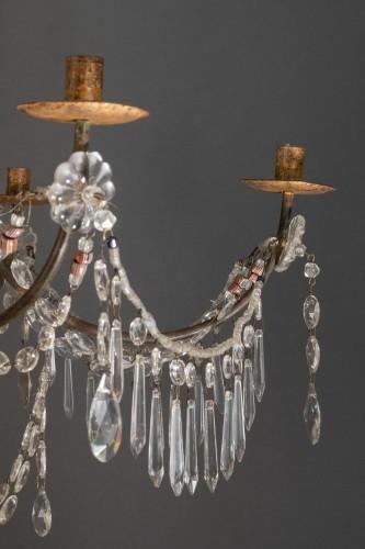 Lustre italien en bois doré et cristaux, fin du 18ème siècle - Lighting Style Louis XVI