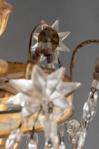 Lustre italien en bois doré et cristaux, fin du 18ème siècle - Louis XVI