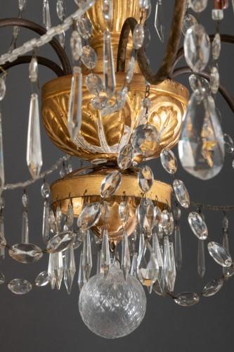 Antiquités - Lustre italien en bois doré et cristaux, fin du 18ème siècle