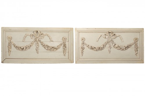 Pair of painted wooden panels - Architectural & Garden Style Louis XVI