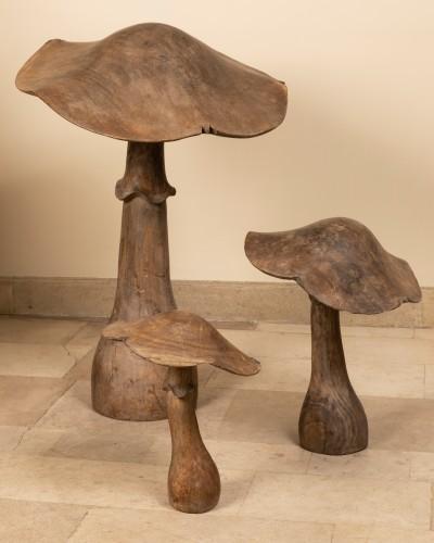 Wooden mushrooms late 19th century - Curiosities Style