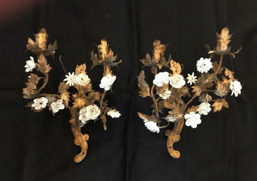 A Pair of 18 th century gilt tole wall appliques -