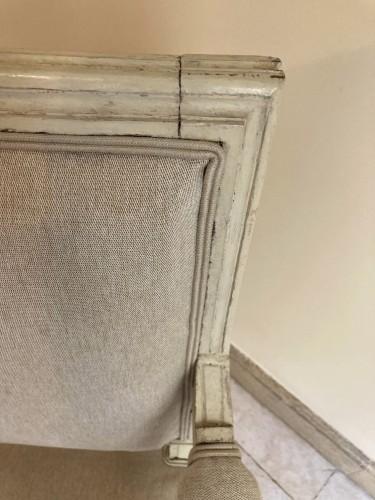 Antiquités - Paire de fauteuils Louis XVI en bois laqué