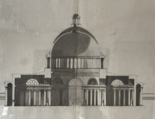 Pair of architectural drawings, french school 18th century -