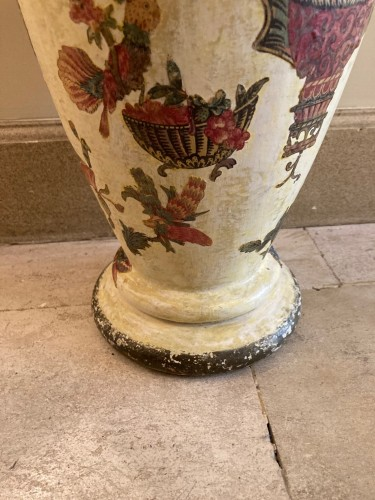 Pair of italian arte povera wooden vases, 18th century - Decorative Objects Style